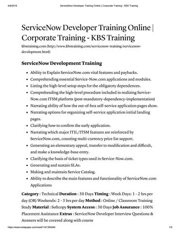 Servicenow Developer Online Training at KBS Training by