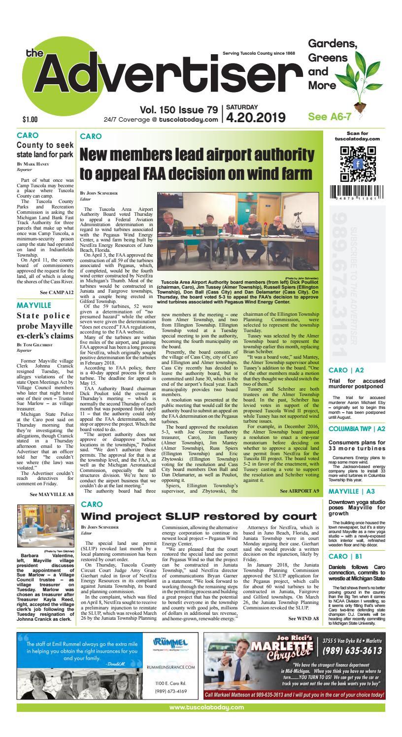 TCA 4-20-19 by Tuscola County Advertiser - issuu