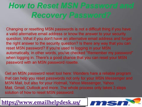 1-877-637-1326 How to Reset MSN Password and Recovery Password? by