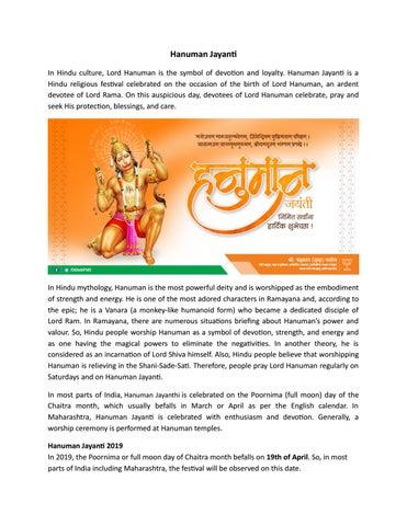 Hanuman Jayanti by Chandrakant Dada Patil Says - issuu