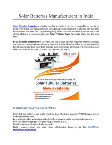 Solar Batteries Manufacturers in India by IVS Global Services - issuu