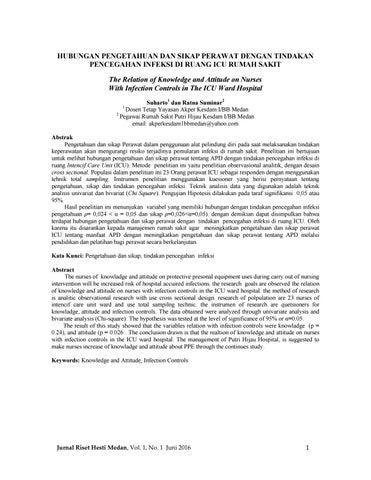 Hubungan Pengetahuan Dan Sikap Perawat Dengan Tindakan Pencegahan Infeksi Di Ruang Icu Rumah Sakit By Jurnal Riset Hesti Medan Akper Kesdam I Bb Medan Issuu