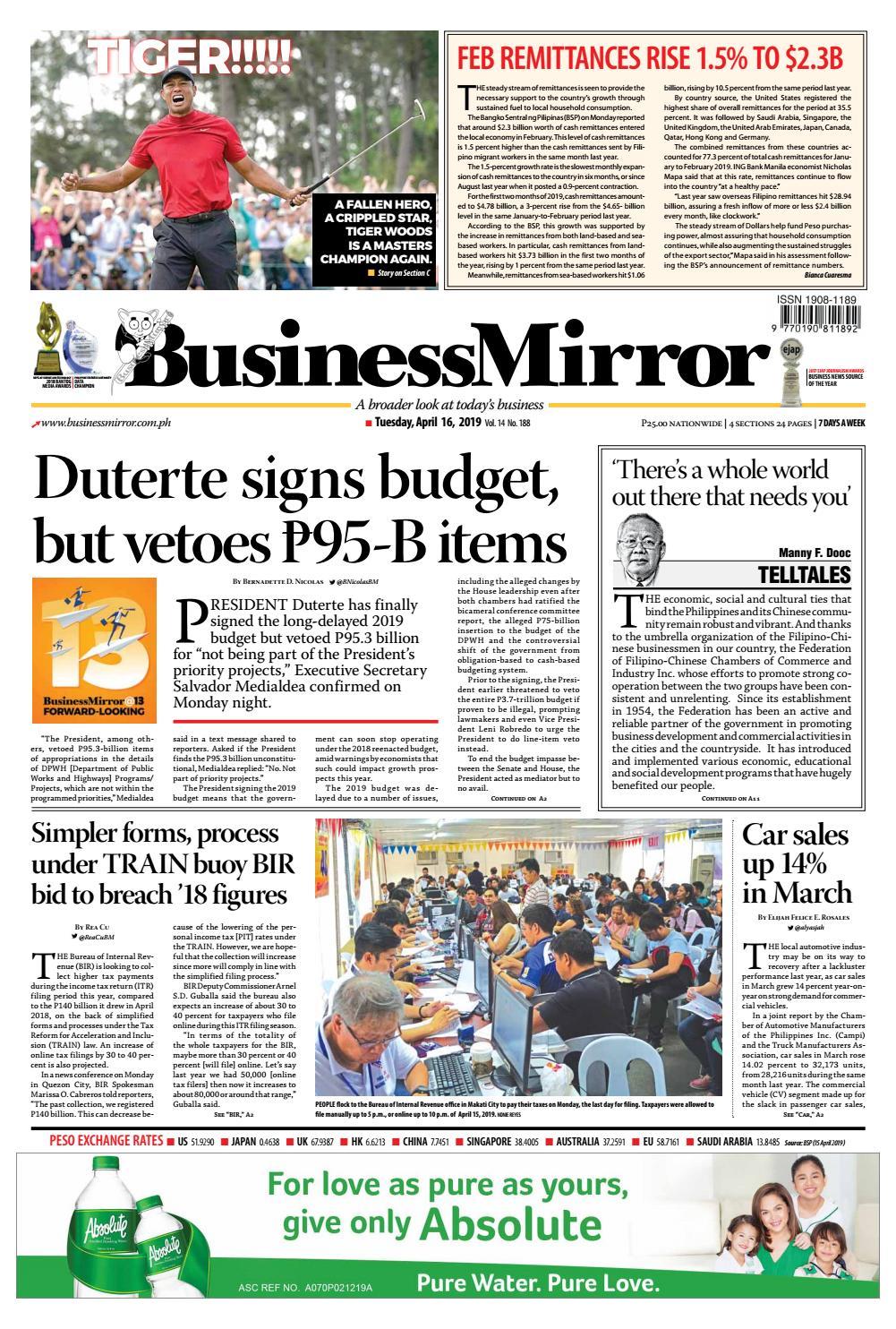 BusinessMirror April 16, 2019 by BusinessMirror - issuu