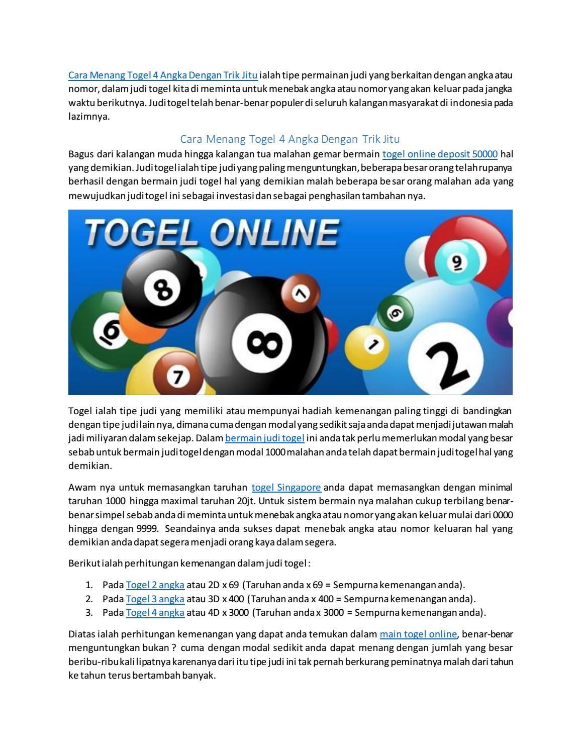 64be89ebe Cara Menang Togel 4 Angka Dengan Trik Jitu by bandartogelonline666 - issuu