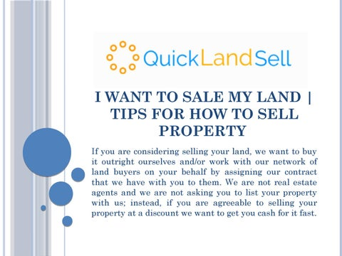 I Want To Sale My Land | Tips for How to Sell Property