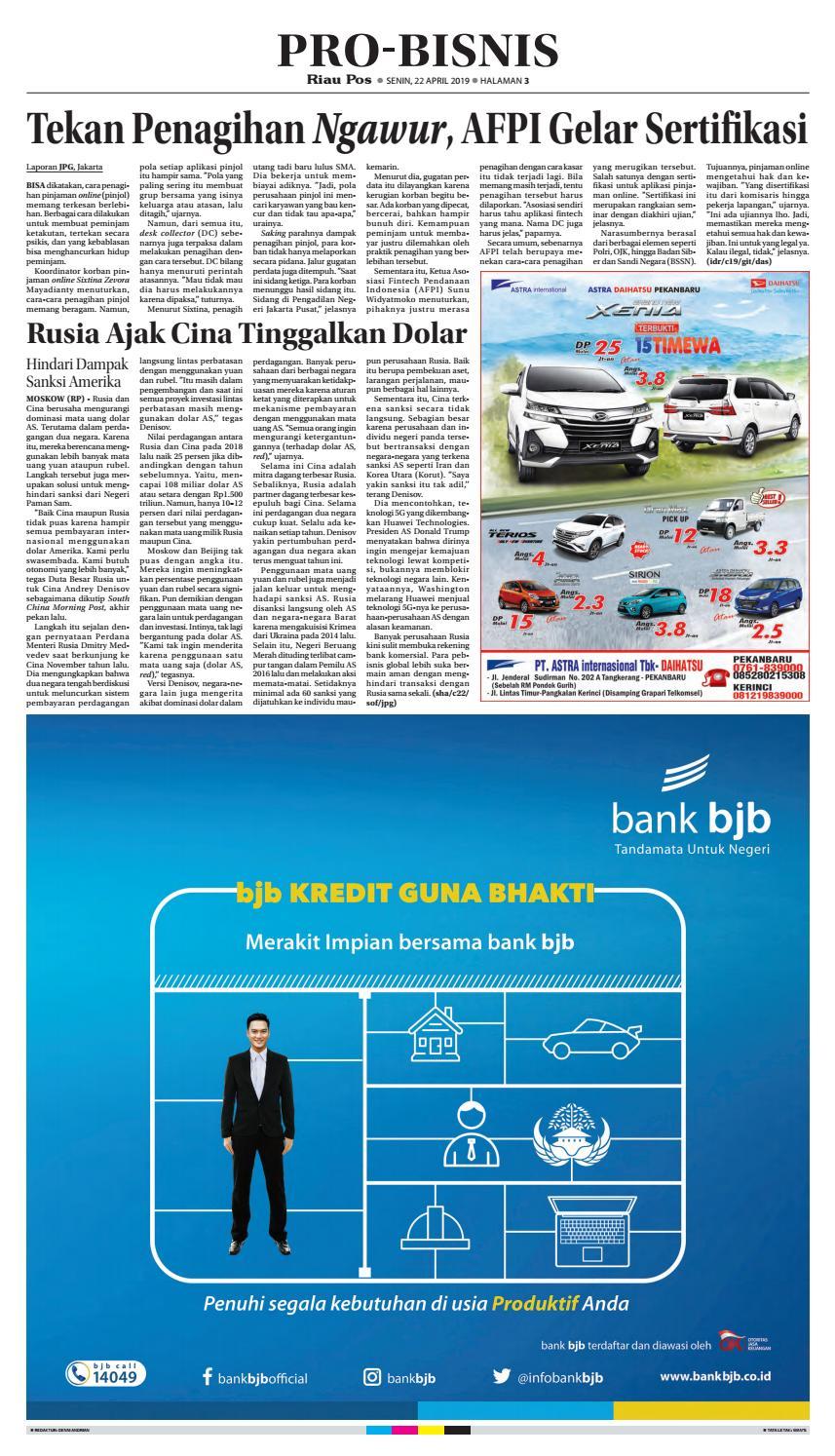 Riau Pos Pdf Edisi Senin 22 April 2019 By Riau Pos Issuu