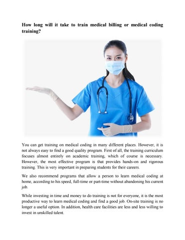 How long will it take to train medical billing or medical