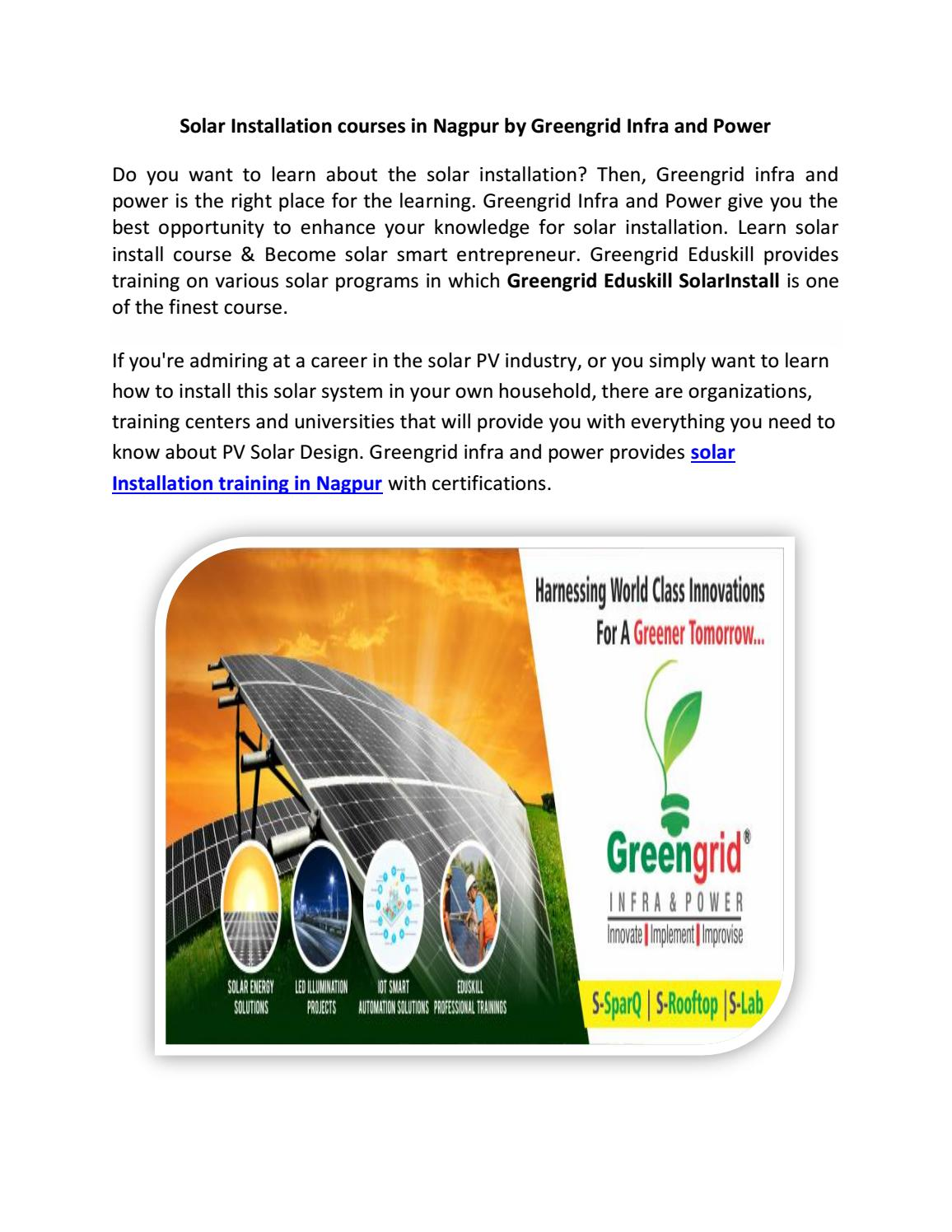 Solar Installation courses in Nagpur by Greengrid Infra and Power by
