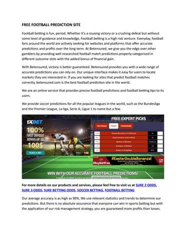 FREE FOOTBALL PREDICTION SITE by betensured - issuu