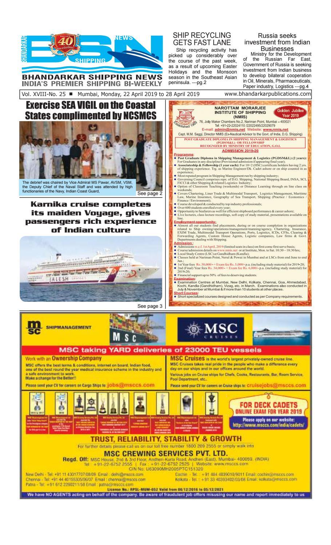Bhandarkar Shipping News, 22 April, 2019 by Bhandarkar