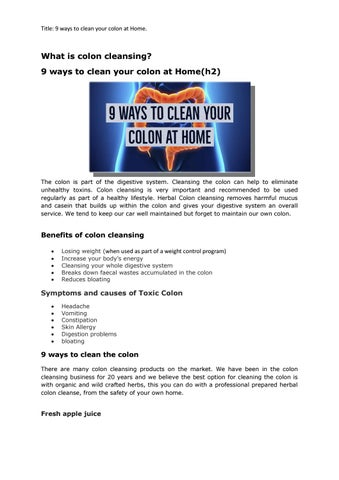 9 ways to clean your colon at Home by Organic seo - issuu