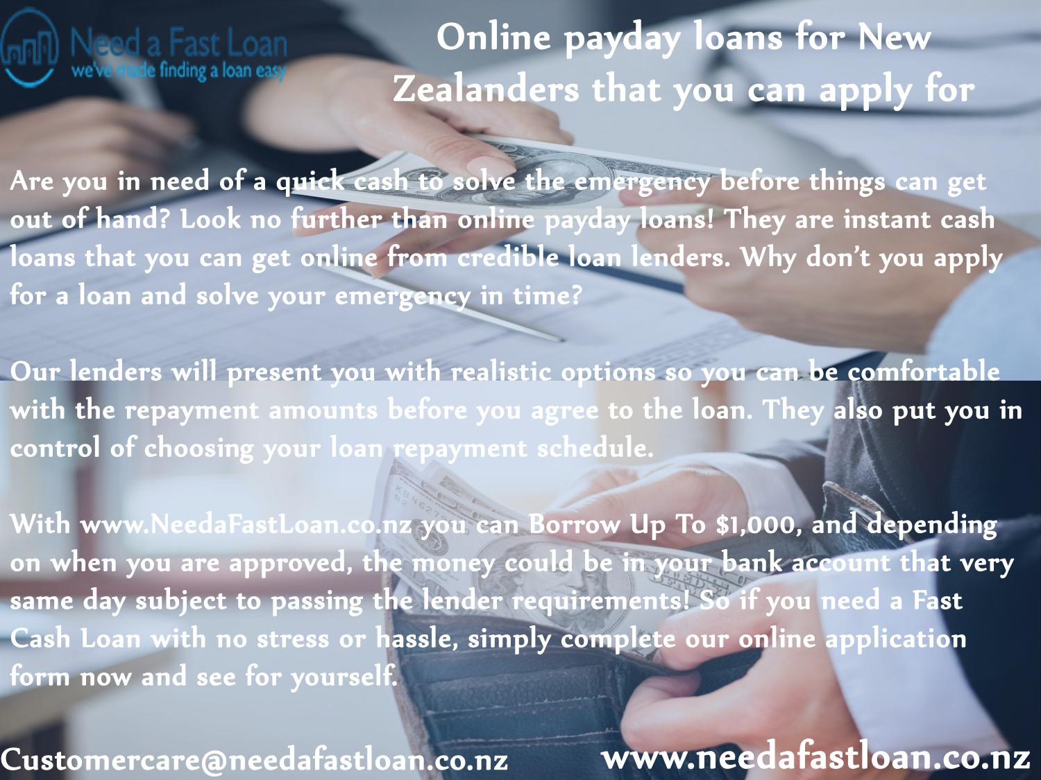 Online Payday Loan Lenders >> Online Payday Loans For New Zealanders That You Can Apply