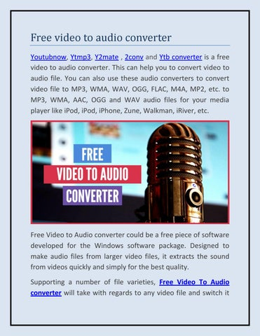 Free Video to Audio converter by akshaytrank - issuu