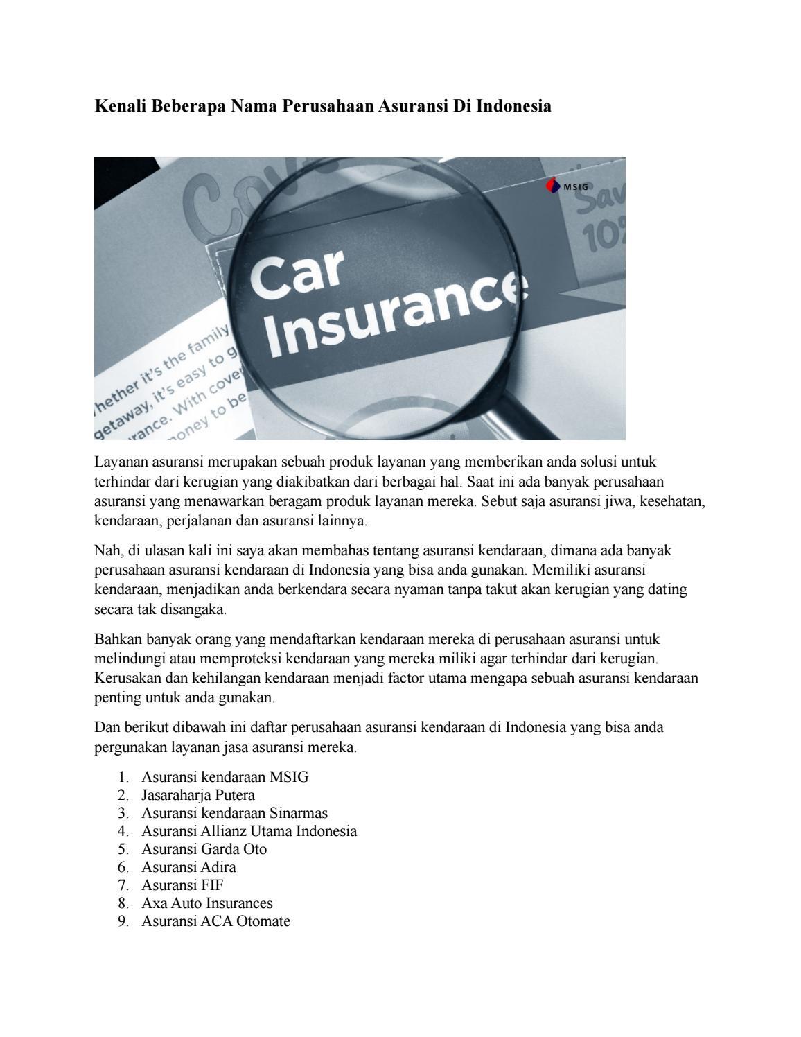 Kenali Beberapa Nama Perusahaan Asuransi Kendaraan Di Indonesia By Bosarman Issuu