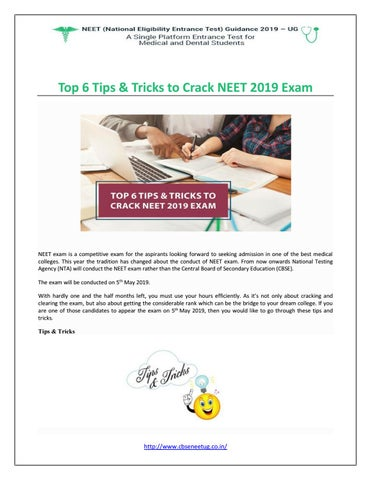 Top 6 Tips & Tricks to Crack NEET 2019 Exam by CBSE NEET UG