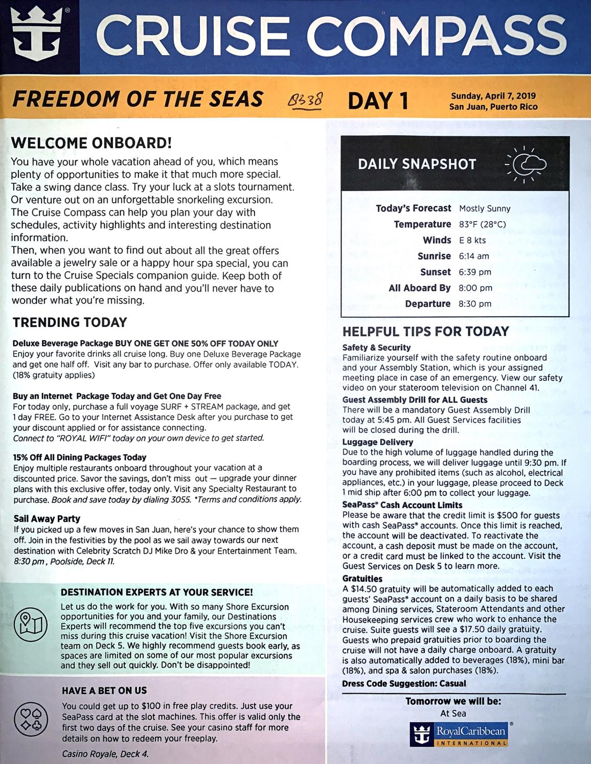 fec0ca470 Freedom of the Seas 7-night Southern Caribbean Cruise Compass - April 7