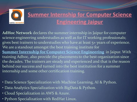 Summer Internship for Computer Science Engineering Jaipur by
