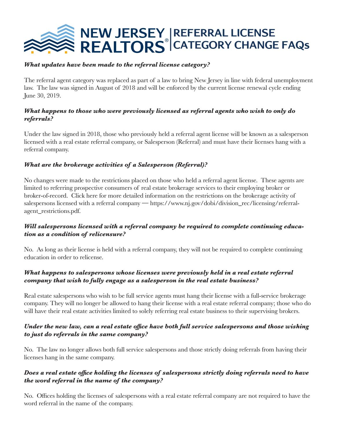 Referral License Category Change Faqs By New Jersey Realtor Issuu