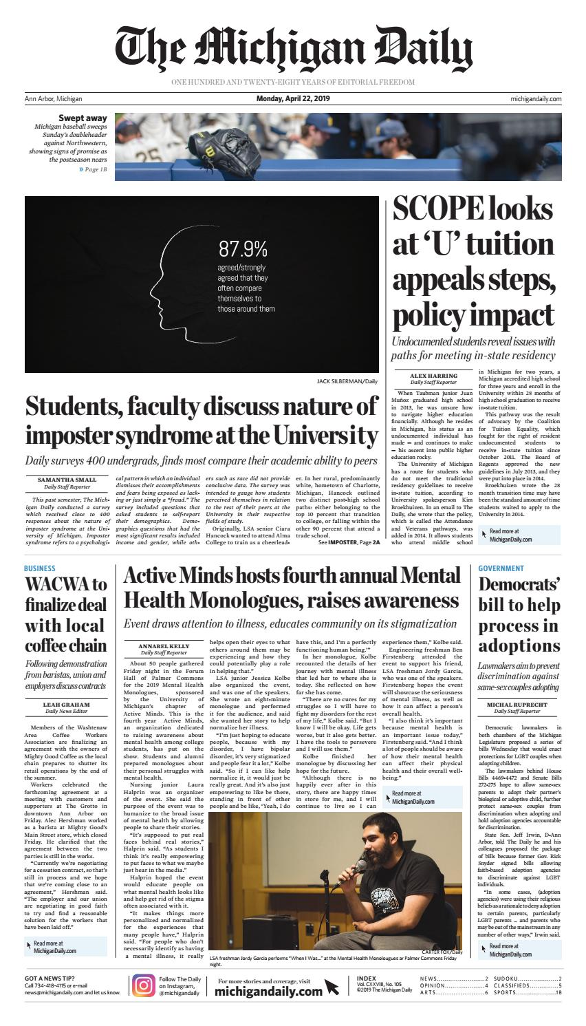 2019-04-22 by The Michigan Daily - issuu