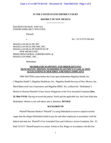 Magellan Health Lawsuit: Motion to Dismiss Denied by