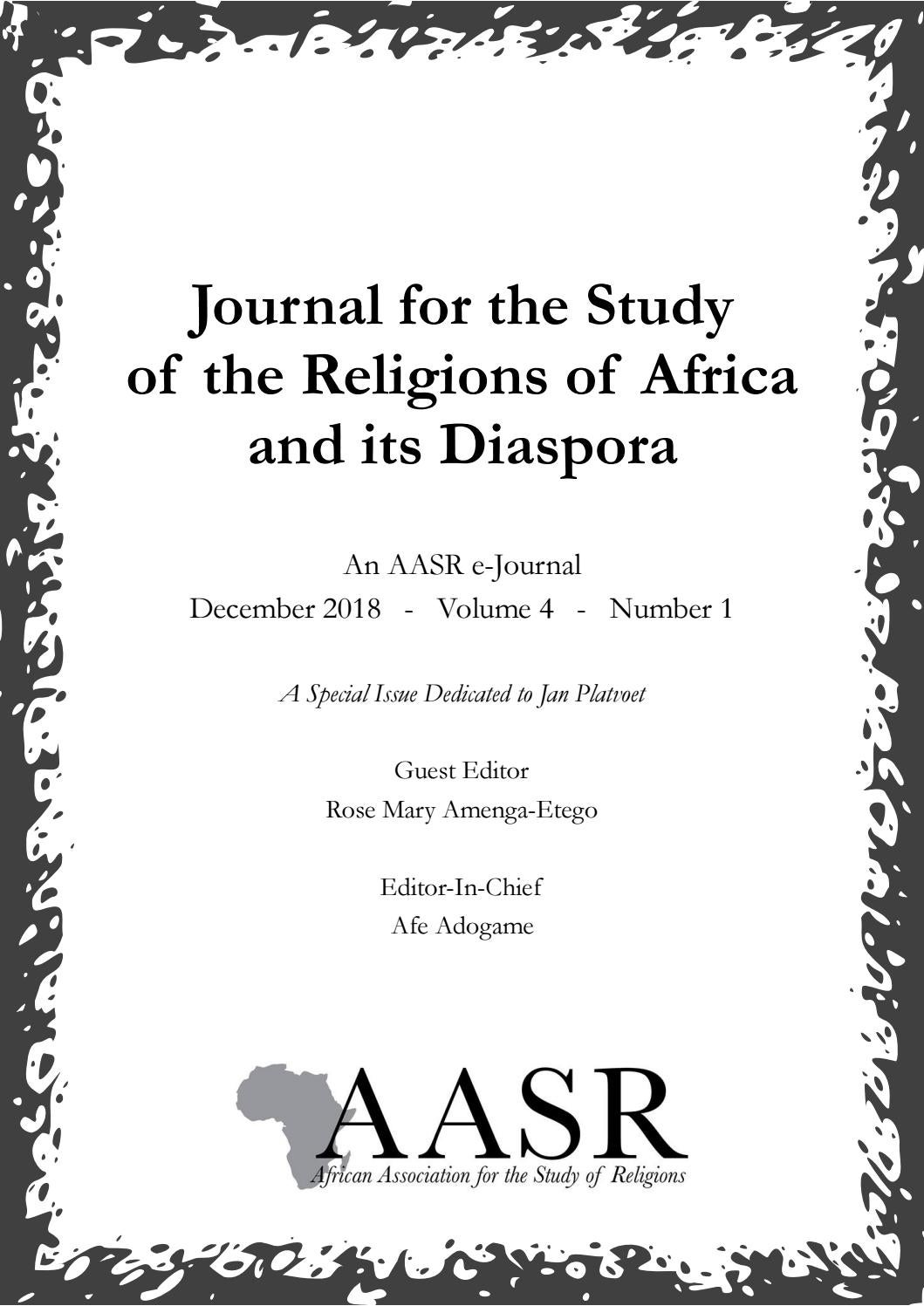 Journal for the Study of the Religions of Africa and its