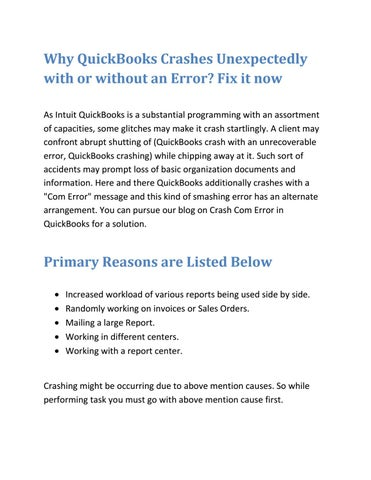 Solution For QuickBooks Crashes When Opening Company File by