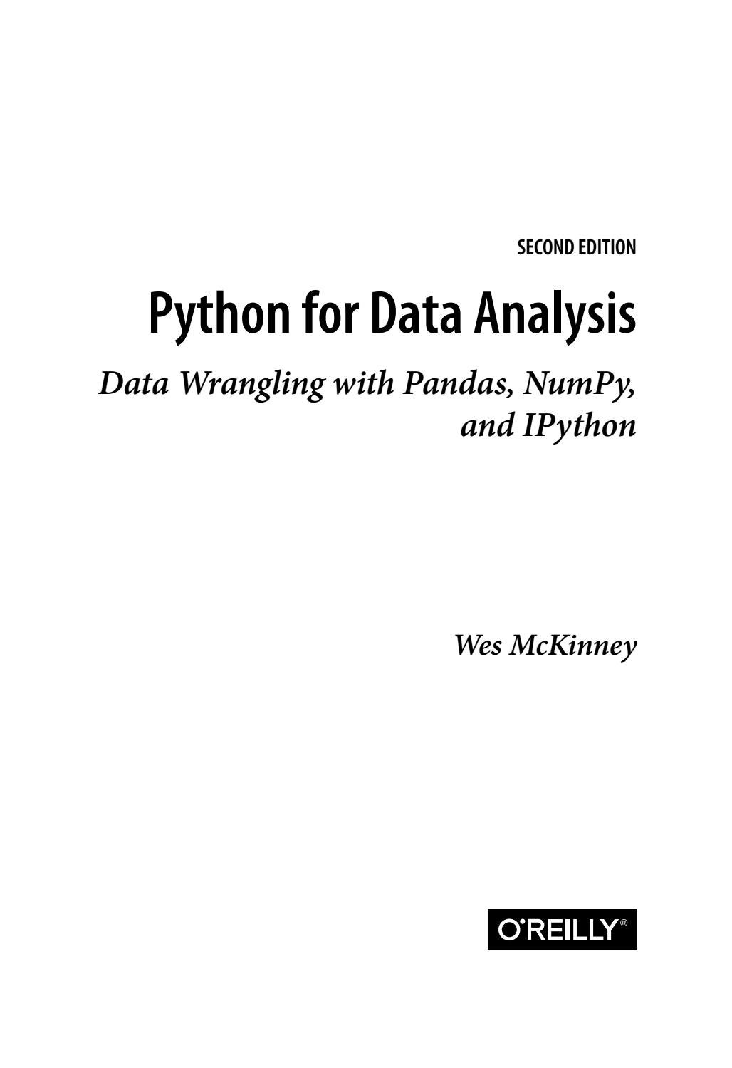 Python for Data Analysis  Data Wrangling with Pandas, NumPy