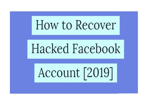 Recover Hacked Facebook Account | 100% Free by nikjackson198