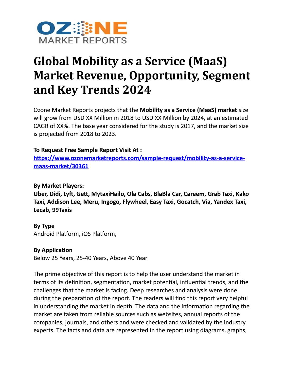 Global Mobility as a Service (MaaS) Market Revenue