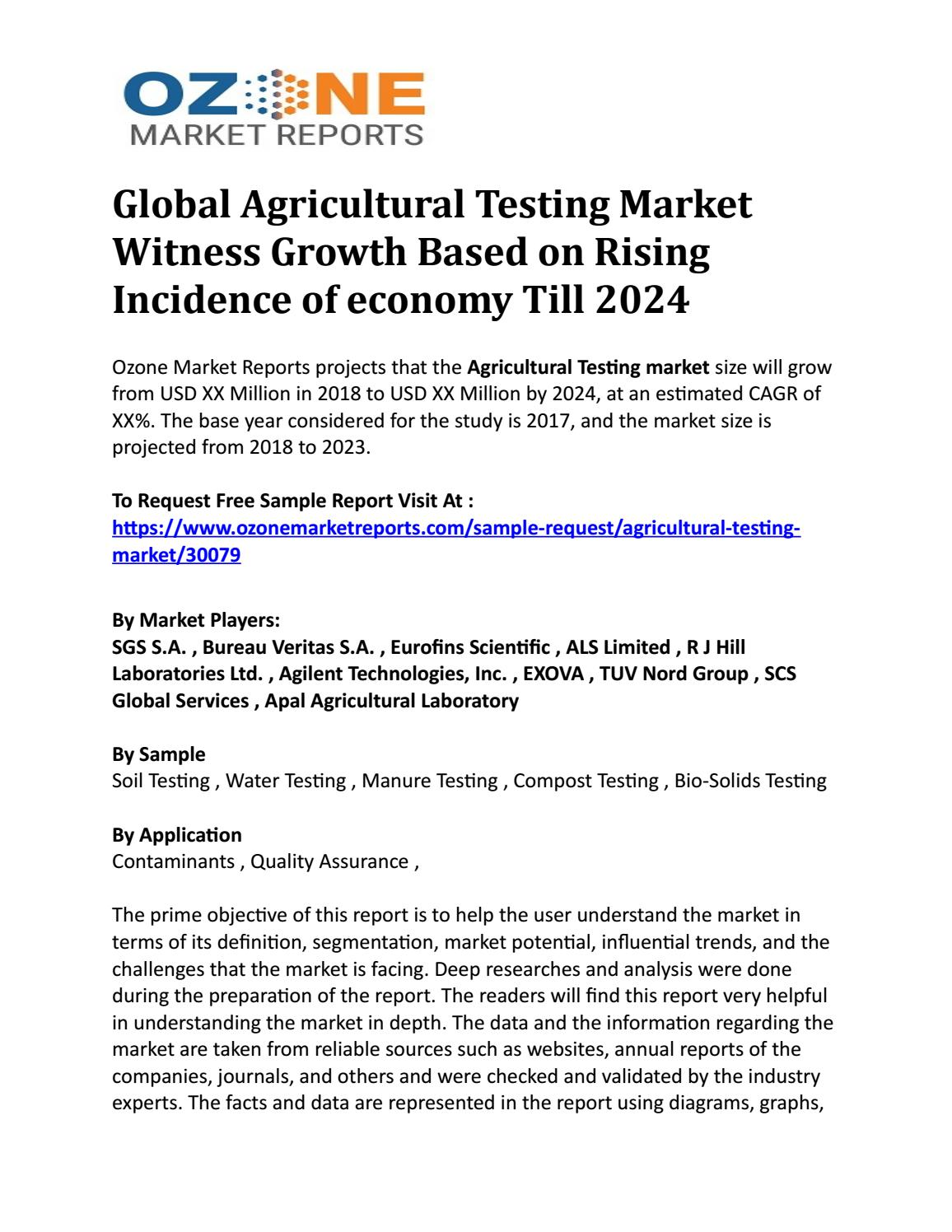 Global Agricultural Testing Market Witness Growth Based on