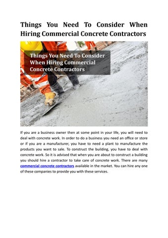 Things You Need to Consider When Hiring Commercial Concrete