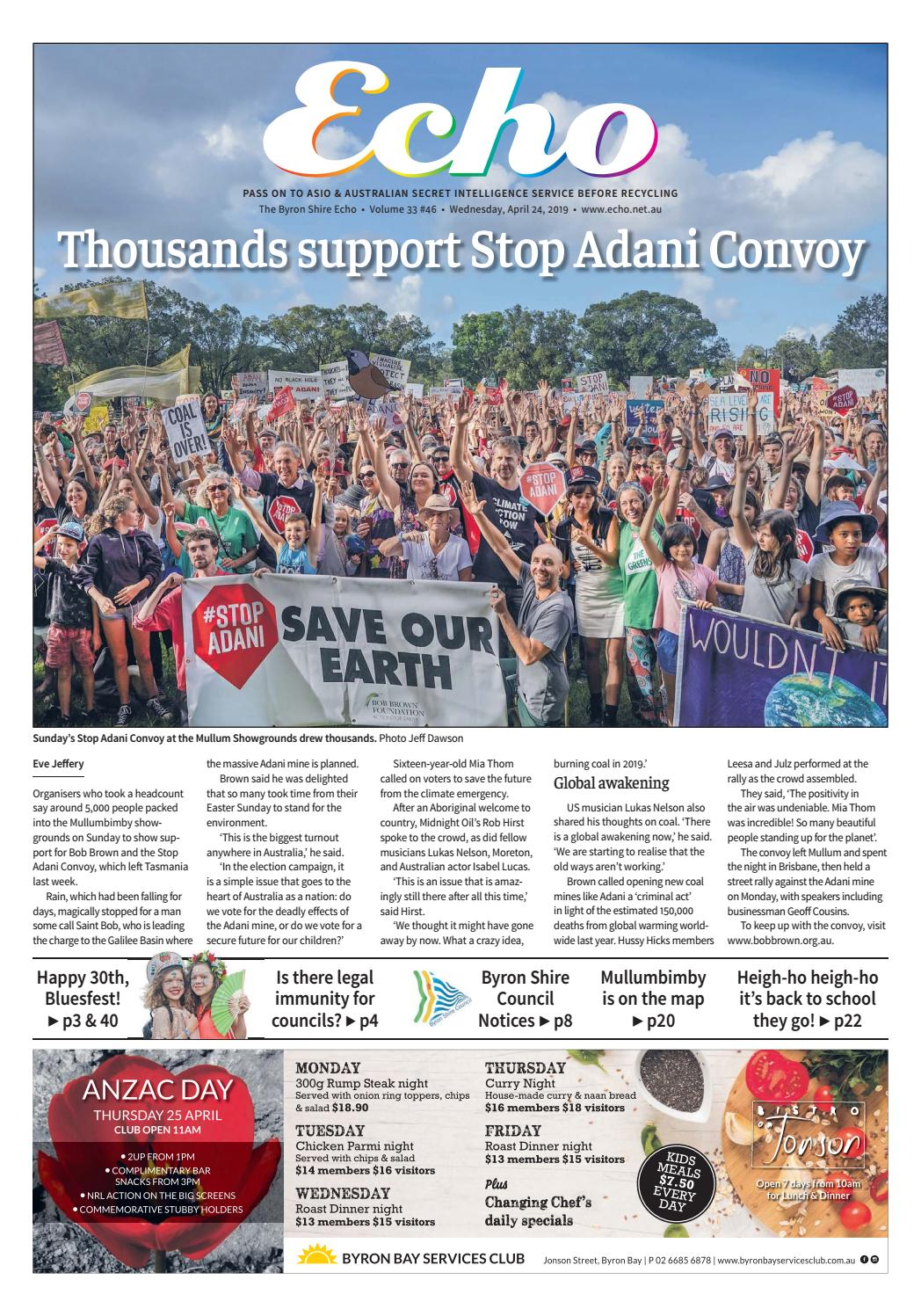 The Byron Shire Echo – Issue 33 46 – April 24, 2019 by Echo