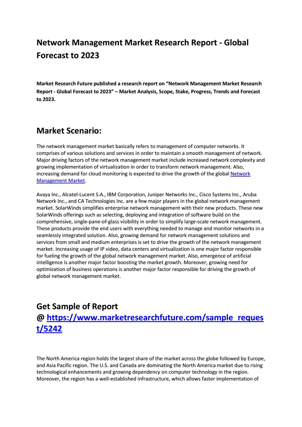 Network Management Market 2019 by Trends, Market Share, Size