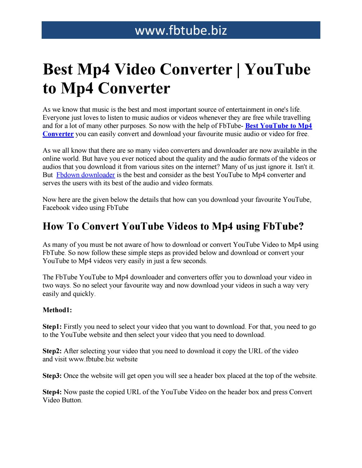 Best Mp4 Video Converter | YouTube to Mp4 Converter by