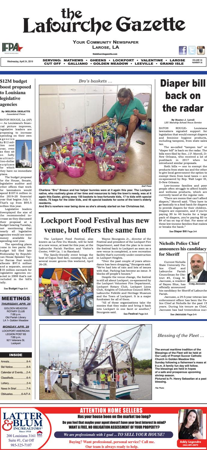 Wednesday, April 24, 2019 THE LAFOURCHE GAZETTE by The