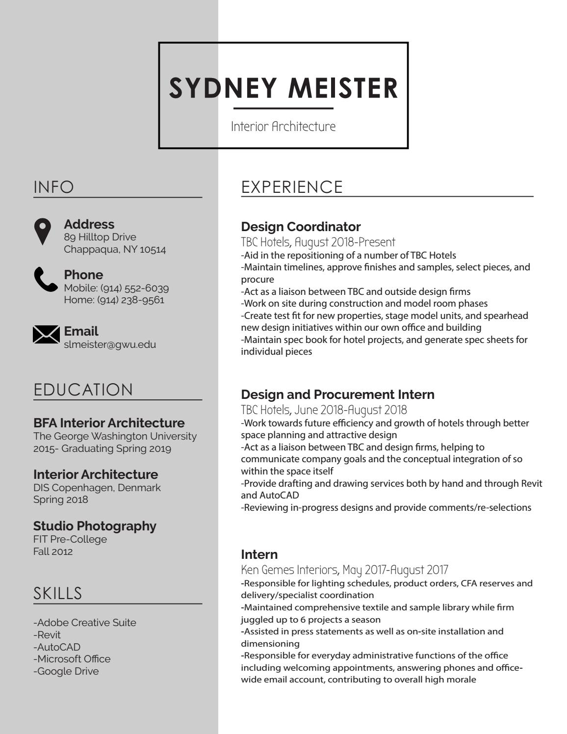 Resume by sydney meister - issuu