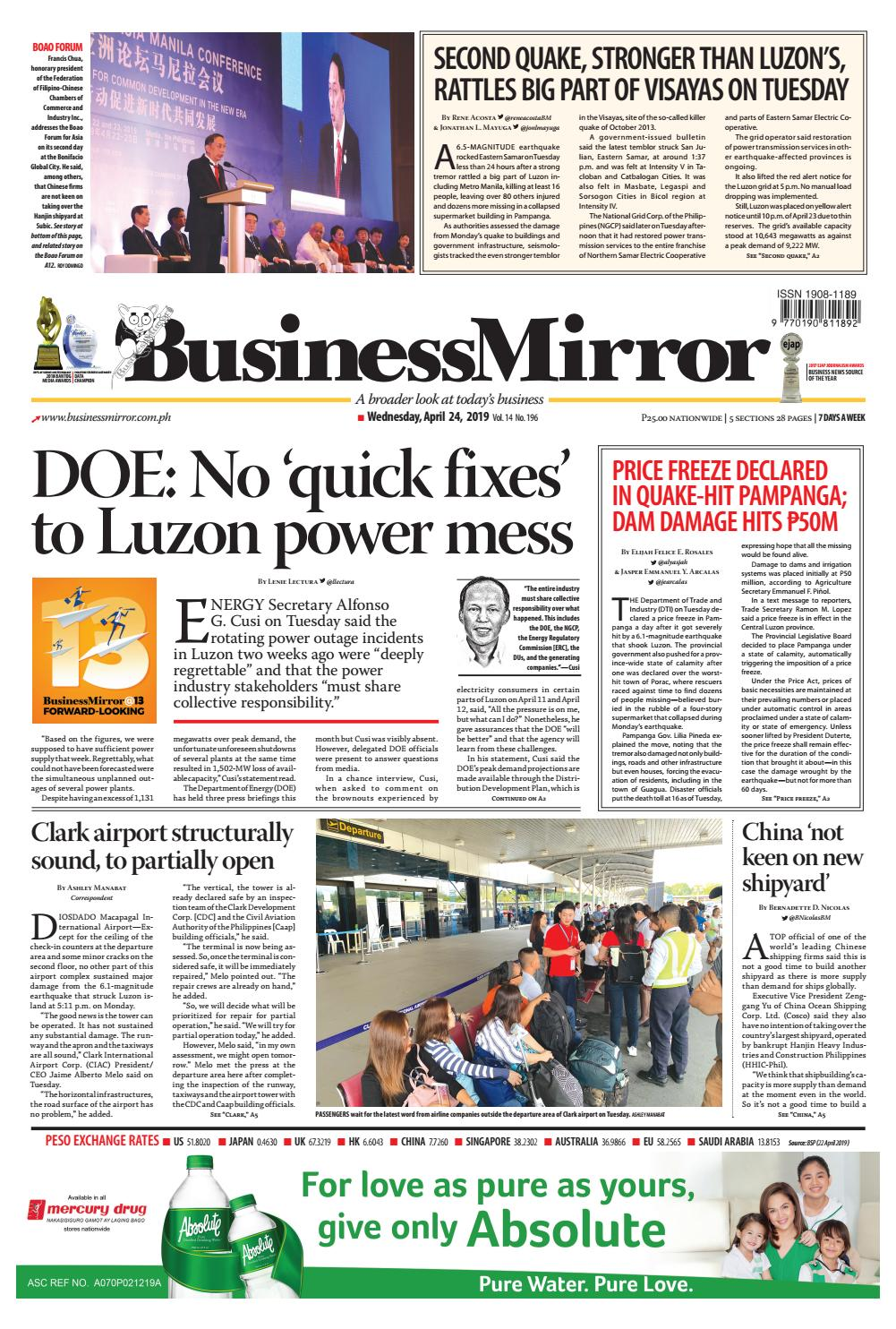 BusinessMirror April 24, 2019 by BusinessMirror - issuu