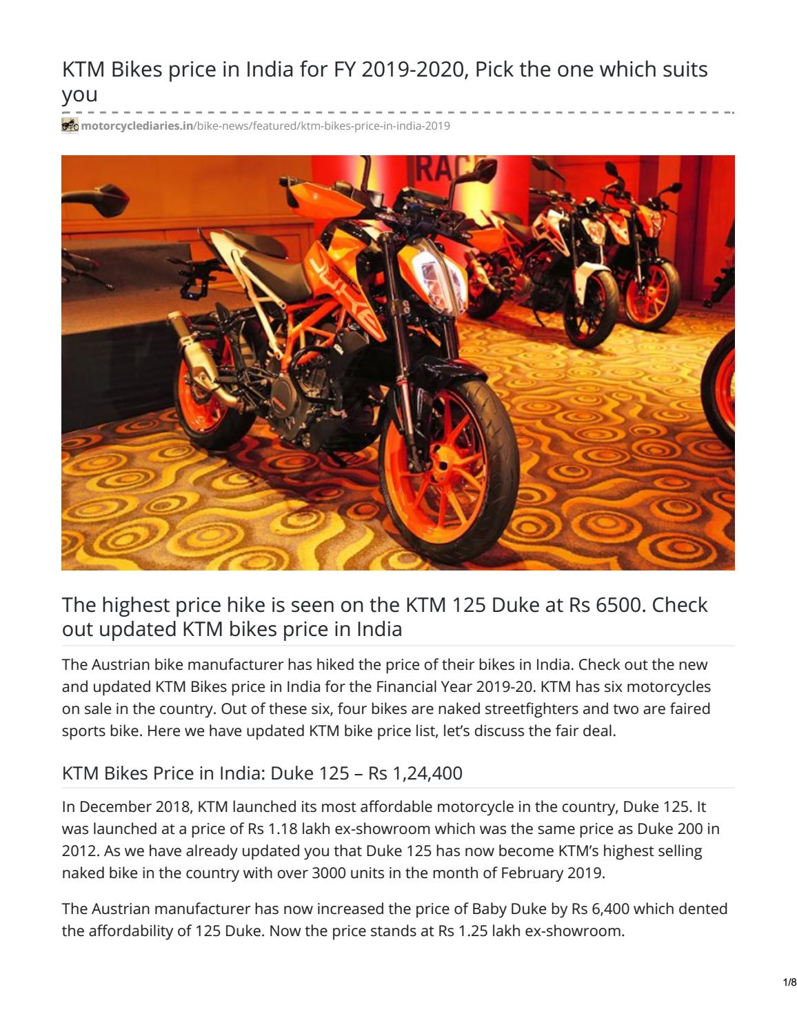 Ktm Bikes Price In India Fy 2019 20 Details Price Features Mileage By Motorcyclediaries Issuu