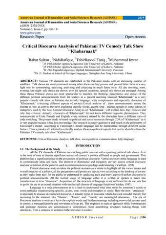 Critical Discourse Analysis of Pakistani TV Comedy Talk Show