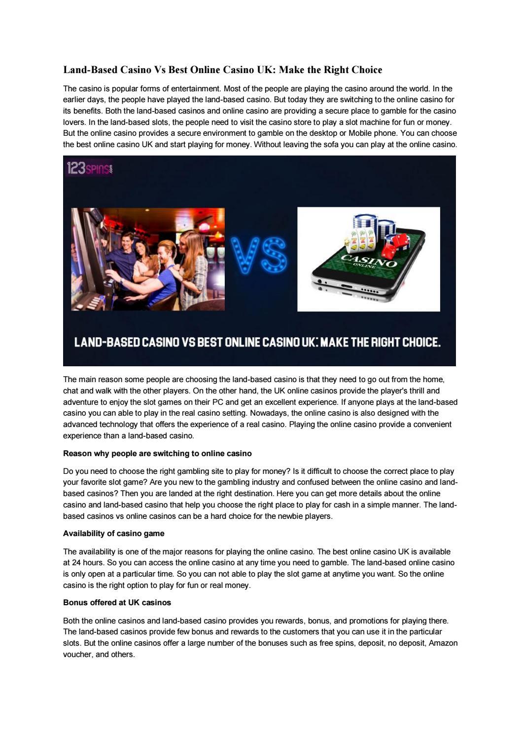 Land Based Casino Vs Best Online Casino Uk Make The Right Choice