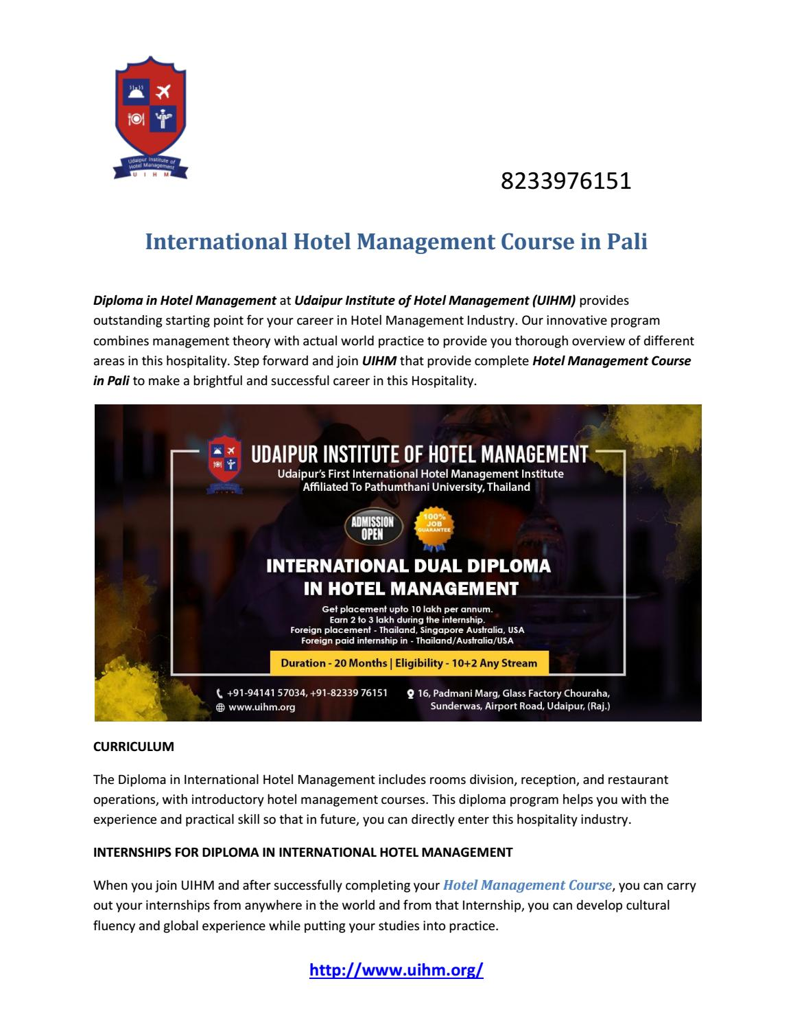 International Hotel Management Course in Pali by