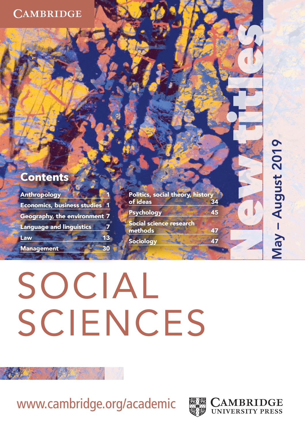 Social Sciences Summer Catalogue 2019 by Cambridge