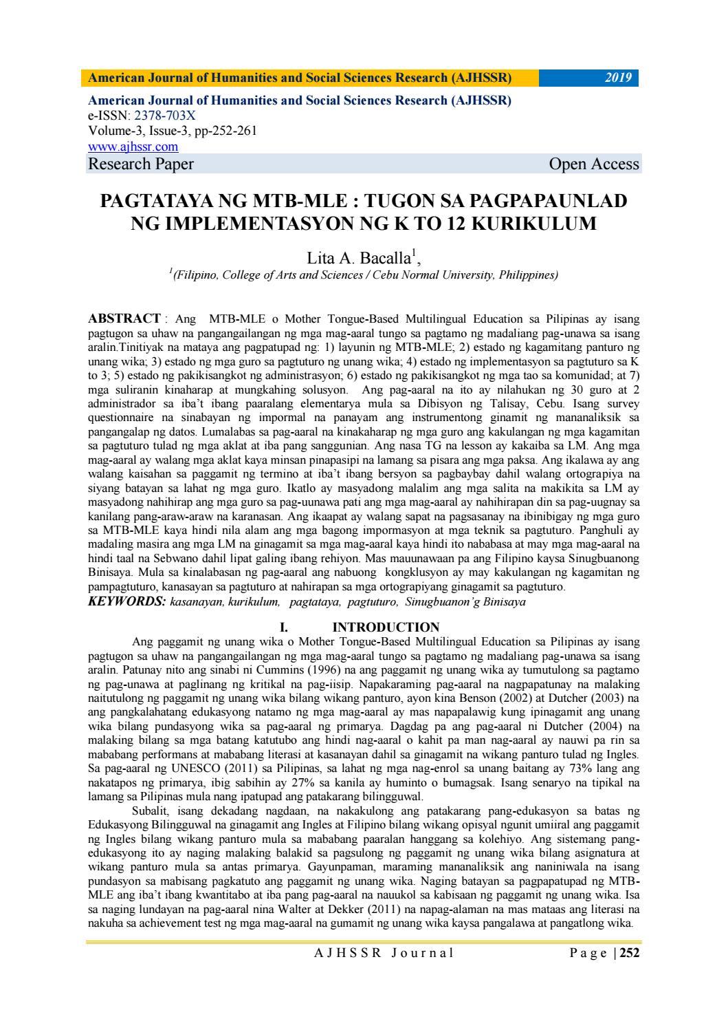 PAGTATAYA NG MTB-MLE : TUGON SA PAGPAPAUNLAD NG