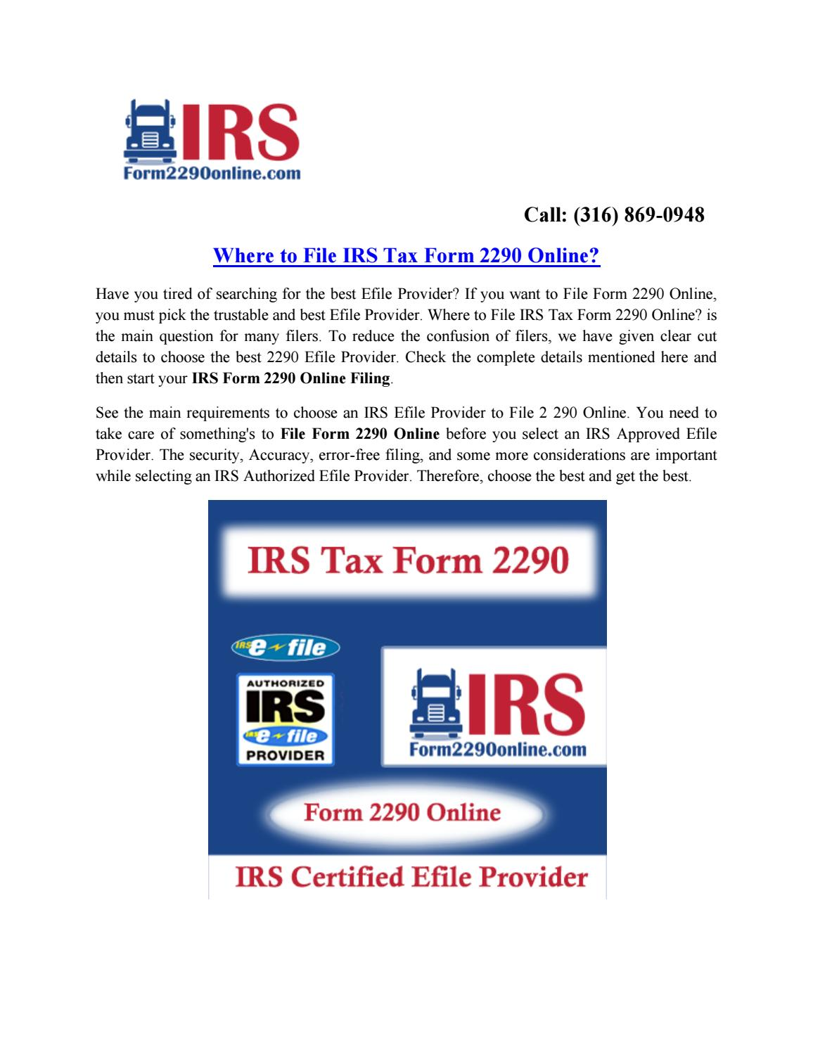 2290 form pay online  File IRS Tax Form 10 Online & Pay Heavy Use Tax at Form ...