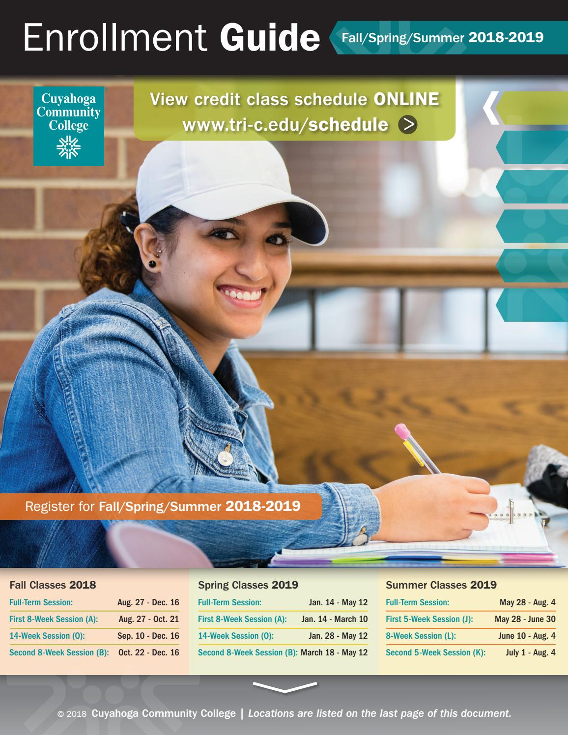 Enrollment Guide 2018-2019 by Cuyahoga Community College - issuu
