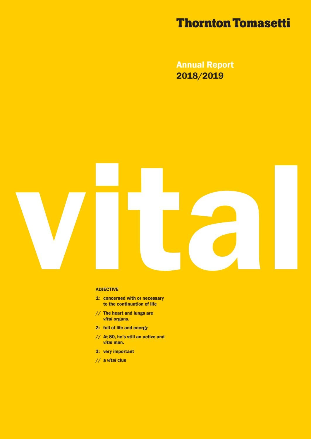 Annual Report 2018/2019: Vitality by Thornton Tomasetti - issuu