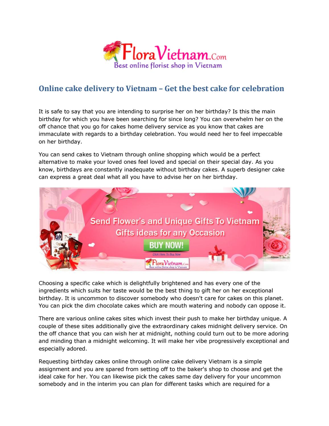 Superb Online Cake Delivery To Vietnam By Flora Vietnam Issuu Personalised Birthday Cards Veneteletsinfo