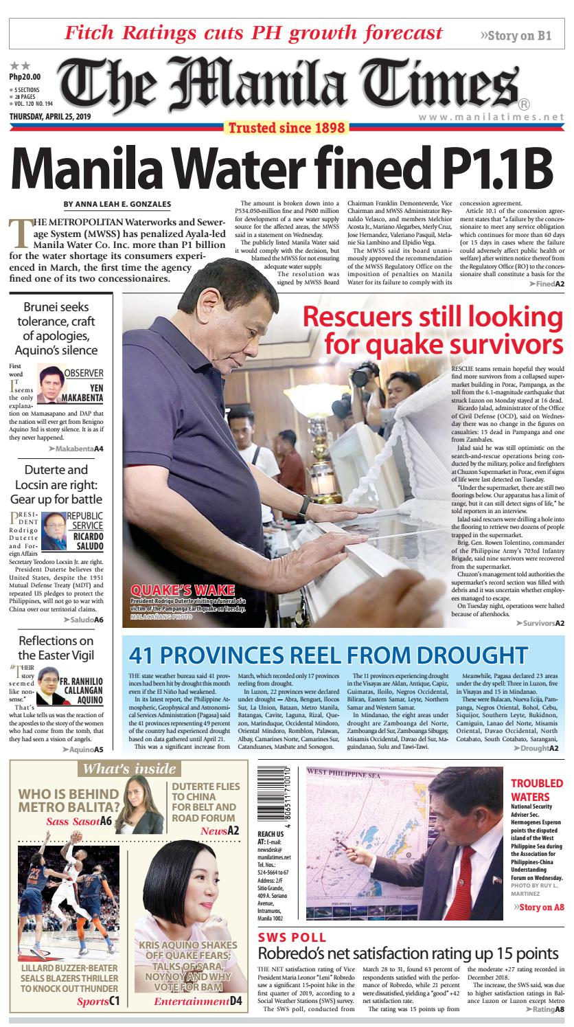 THE MANILA TIMES | APRIL 25, 2019 by The Manila Times - issuu