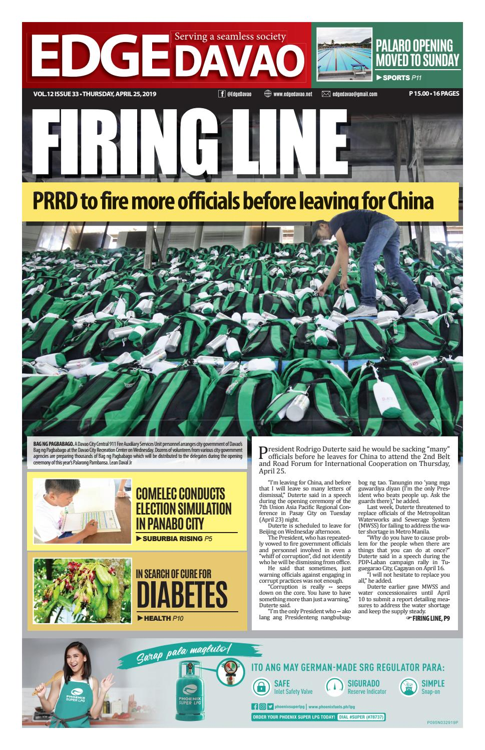 Edge Davao Volume 12 Issue 33 | Thursday, April 25, 2019 by