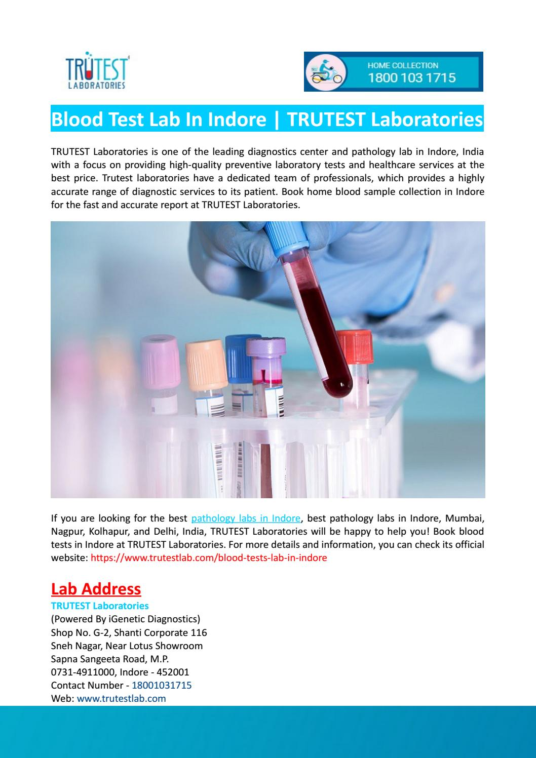 Blood Test Lab in Indore-TRUTEST Laboratories by TRUTEST